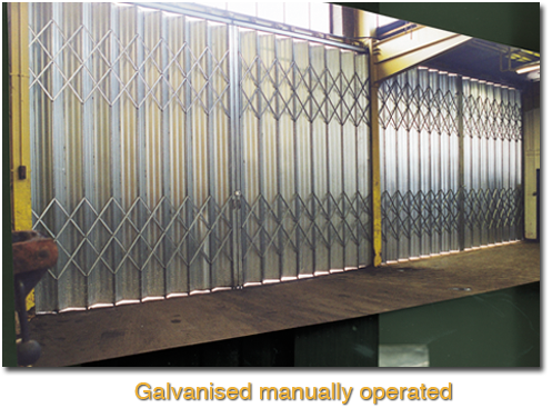 galvanised manually operated door
